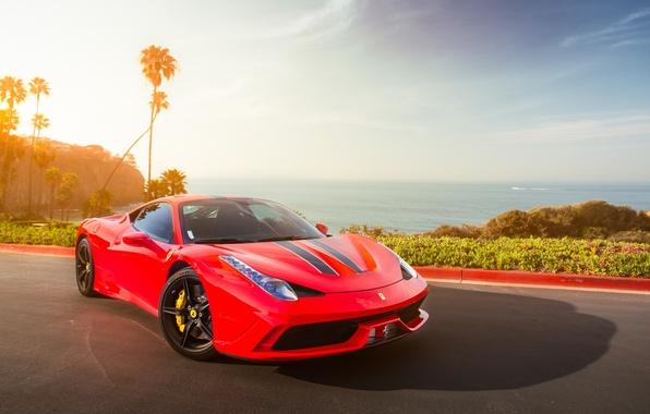 Picture the sky, clouds, red, the ocean, red, ferrari, Ferrari, 458 speciale