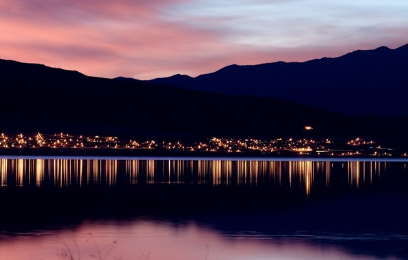 Picture sunset, mountains, lights, the evening, horizon, Landscape, pond