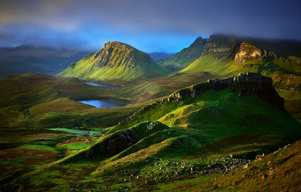 Picture clouds, mountains, clouds, rocks, hills, morning, valley, Scotland, lake, Isle of Skye, region highland