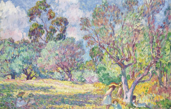 Picture trees, paint, picture, genre, Henri Lebacq, Children in the meadow