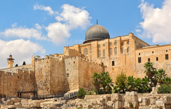Picture the sky, the sun, clouds, stones, palm trees, temple, architecture, Palace, Israel, Jerusalem