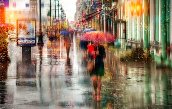 Picture girl, drops, rain, umbrella, Saint Petersburg, Russia, Nevsky Prospekt