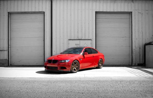 Picture red, the building, bmw, BMW, red, billboards, e92, building, tinted, blinds
