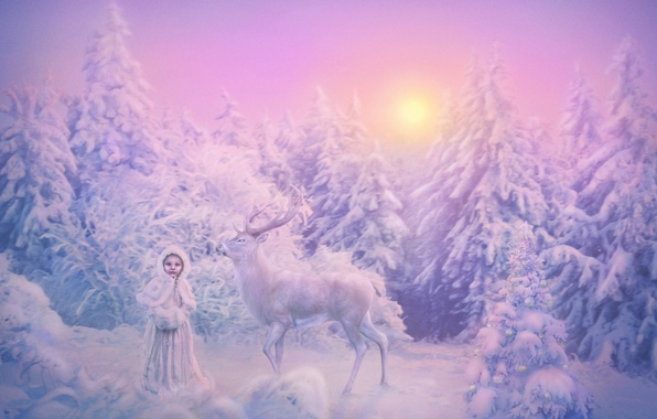 Picture winter, forest, the sun, snow, toys, spruce, deer, frost, girl, Christmas