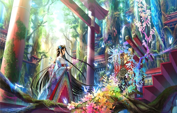 Picture trees, flowers, art, girl, steps, the gates, Liana, national clothes, fuji choko