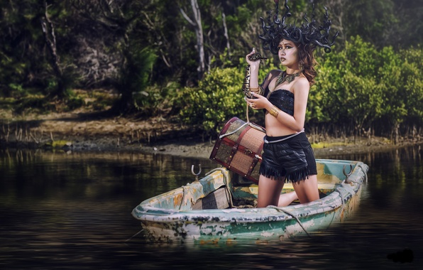 Picture water, girl, style, model, boat, snake, the situation, Asian, chest, Medusa