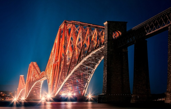 Picture bridge, the city, lights, the evening, Scotland, backlight, Bay, Scotland, Edinburgh, Edinburgh, Alba, Forth Bridge, ...