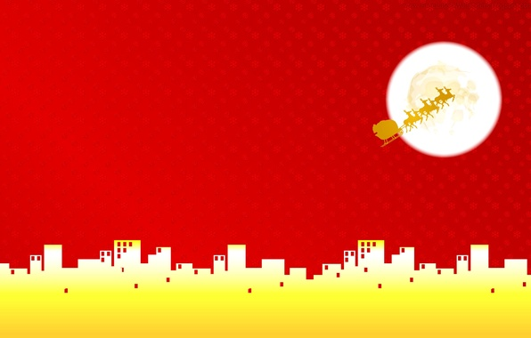 Picture the city, the moon, home, vector, Christmas, deer