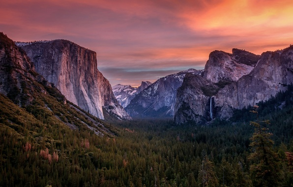 Picture forest, the sky, clouds, trees, sunset, mountains, waterfall, the evening, CA, USA, Yosemite national Park