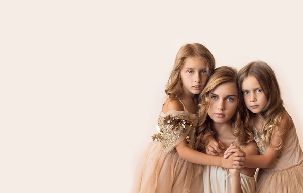 Picture girls, portrait, family, girl, mom, sisters