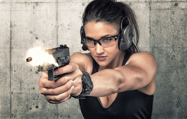 Picture face, gun, weapons, background, shot, bullet, headphones, glasses