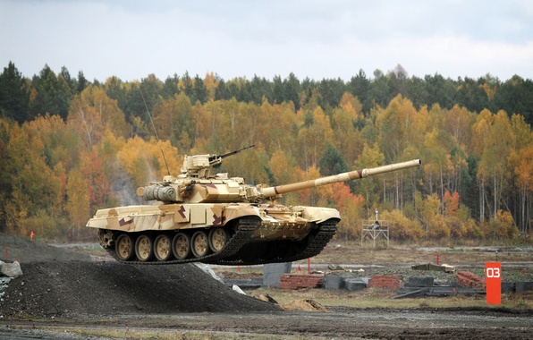 Picture forest, flight, jump, Tank, Russia, jump, T-90, T-90S, UVZ, Arms EXPO 2013