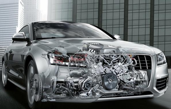 Photo wallpaper car, machine, auto, Audi, engine