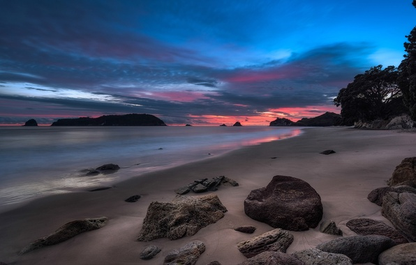 Picture sea, the sky, clouds, stones, rocks, shore, the evening, tide, glow