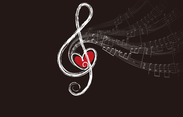 Picture notes, heart, key, violin, sounds