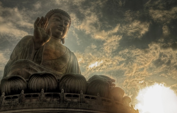 Picture the sky, the sun, clouds, statue, Buddha