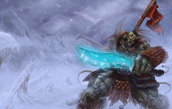 Picture snow, sword, Orc, wow, world of warcraft, banner, orcs