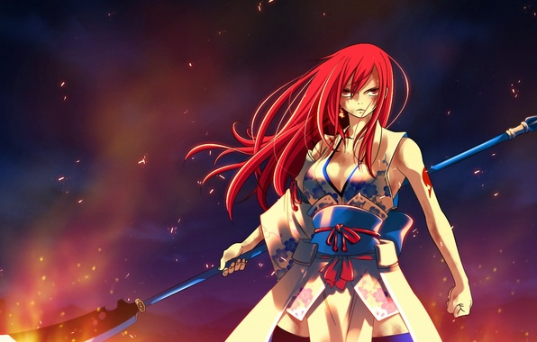 Picture look, girl, fire, flame, anime, tattoo, spear, yukata, tale of fairy tail, Ezra Scarlet, Fairy …
