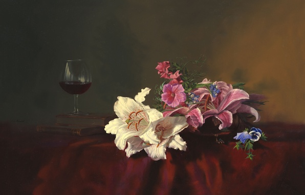 Picture flowers, table, wine, Lily, glass, books, picture, still life, Alexei Antonov, tablecloth