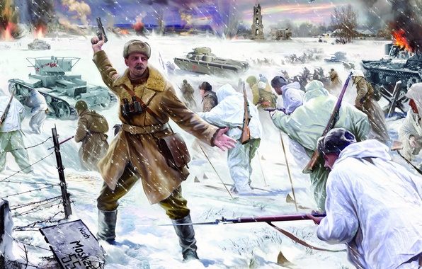 Picture winter, war, attack, figure, soldiers, tanks, Battle for Moscow, The Soviet counter-offensive near Moscow, The …