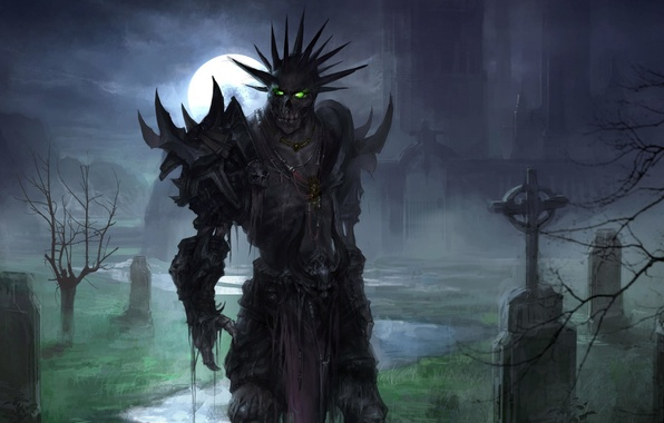 Picture moon, fantasy, undead, armor, green eyes, night, art, background, artwork, chapel, skeleton, graveyard
