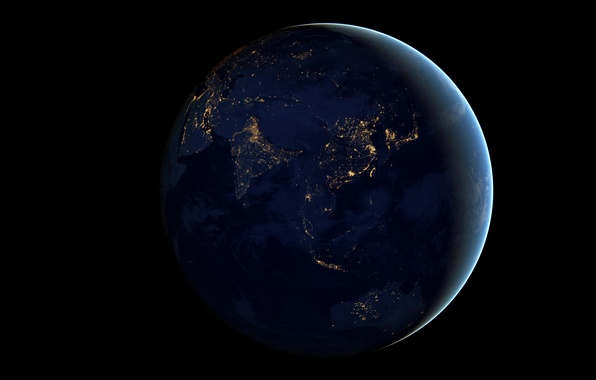 Picture space, night, lights, earth, planet