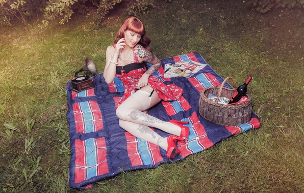 Picture girl, style, wine, basket, stockings, dress, blanket, tattoo, red, girl, legs, picnic, the pinup, gramophone, …