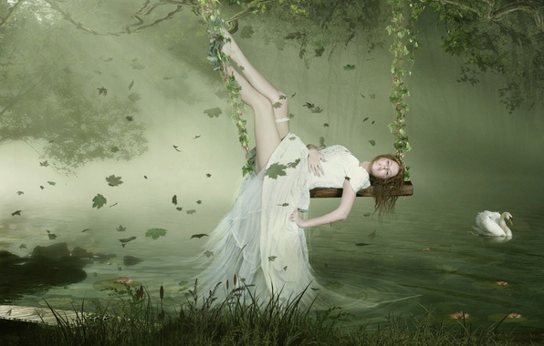 Picture Swan, Leaves, Dress, Swing
