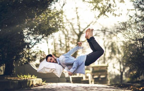 Picture sleep, man, pillow, Vincent Bourilhon, Falling asleep