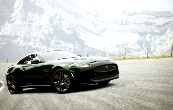 Picture road, mountains, coupe, Jaguar XKR-S, Gran Turismo