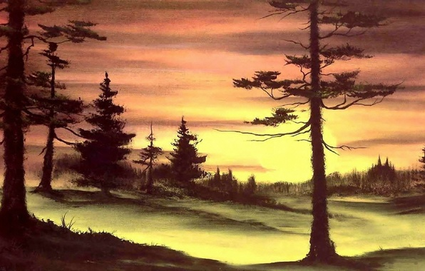 Picture forest, the sun, trees, sunset, nature, picture, painting, Bob Ross, Bob Ross