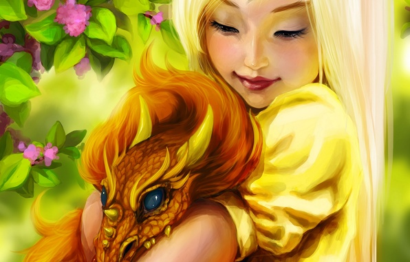 Picture flowers, smile, dragon, fantasy, girl, girl, fantasy, Fantasy, smile, art, flowers, dragon, Ink-pot