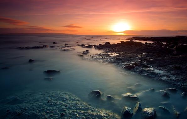 Picture the sky, the sun, clouds, sunset, orange, bright, stones, the ocean, shore, coast, Sea, the …
