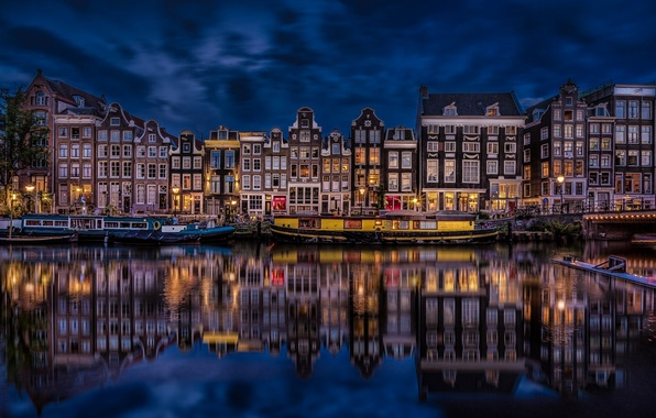 Picture reflection, building, Amsterdam, channel, Netherlands, night city, promenade, Amsterdam, Netherlands, Singel Canal, The Singel Canal