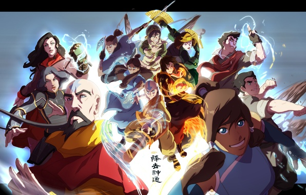 Picture water, fire, earth, element, magic, the air, Avatar, blue background, Mako, The Last Airbender, Korra, …