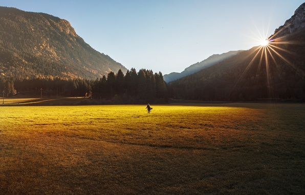 Picture field, the sky, girl, the sun, mountains, back