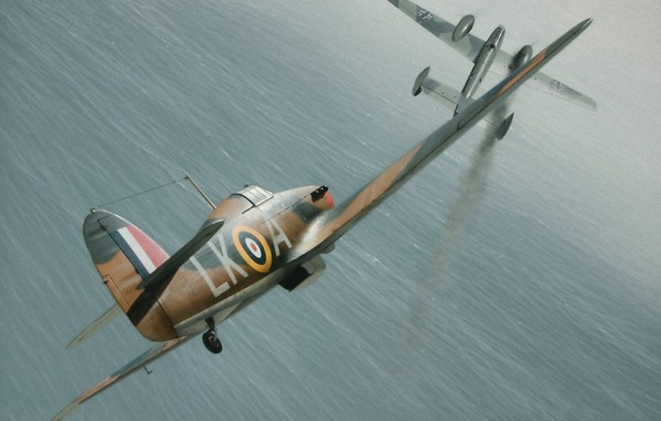 Picture aircraft, war, art, airplane, painting, drawing, ww2, combat, dogfight, bf 110, battle of britain, aviation …