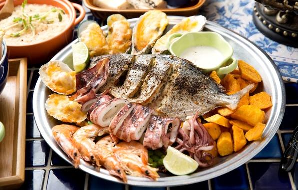 Picture fish, shrimp, mussels, squid, sweet potato
