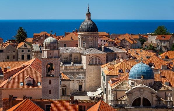 Picture sea, building, roof, Church, Cathedral, Croatia, Croatia, Dubrovnik, Dubrovnik, The Adriatic sea, Adriatic Sea, Cathedral …