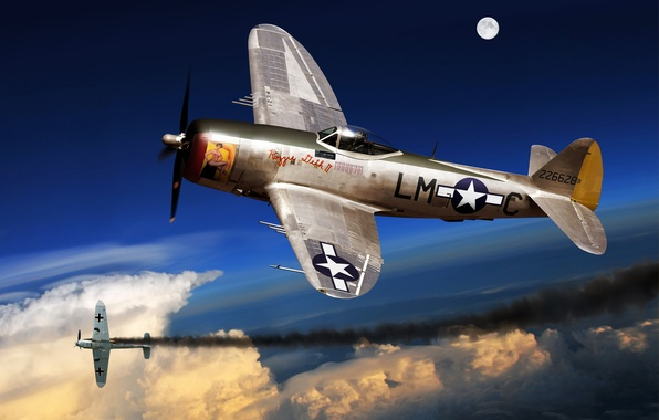 Picture the plane, fighter, art, USA, the battle, bomber, BBC, Thunderbolt, the enemy, P-47, WW2., the …