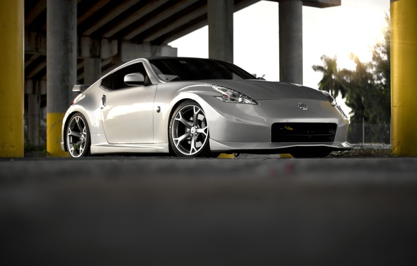 Picture the sun, tree, tuning, silver, Nissan, tuning, tree, sun, 370z, Nissan. silver