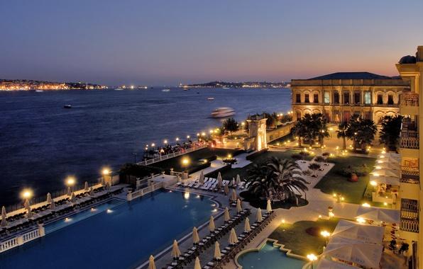 Picture sea, night, pool, Istanbul, Turkey, Istanbul, The Bosphorus, Kempinski hotel