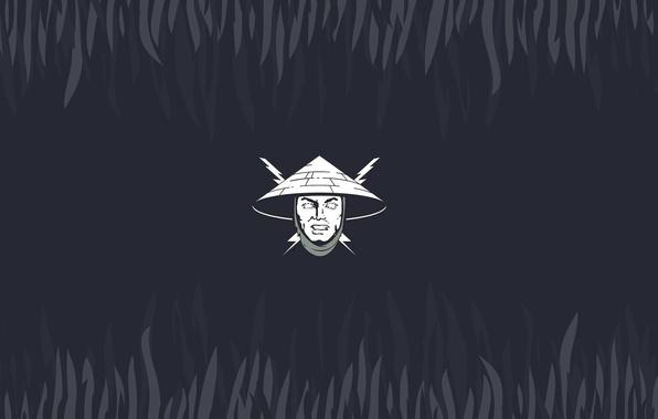 Picture lightning, minimalism, head, hat, mortal kombat, Raiden, the God of thunder, Rayden