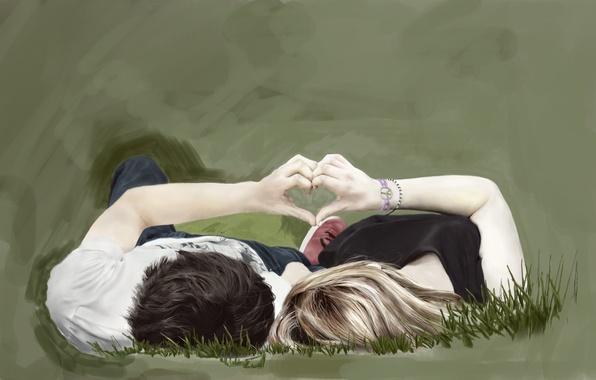 Picture grass, girl, love, heart, hands, art, pair, guy, painting, lie