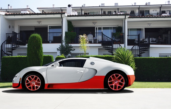 Picture white, red, Bugatti, veyron, supercar, red, white, the hotel, supercar, Bugatti, hotel, Veyron, grand sport, …