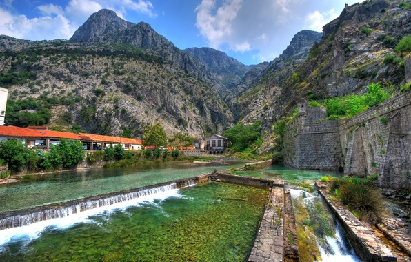 Picture mountains, stream, wall, rocks, Montenegro, Kotor