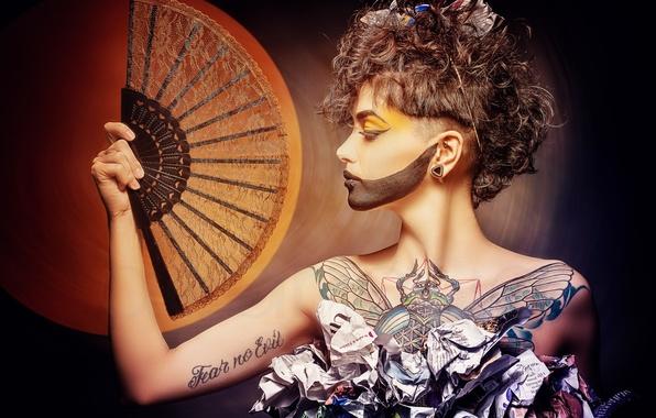 Picture face, style, paper, makeup, tattoo, fan, profile, Sanchez