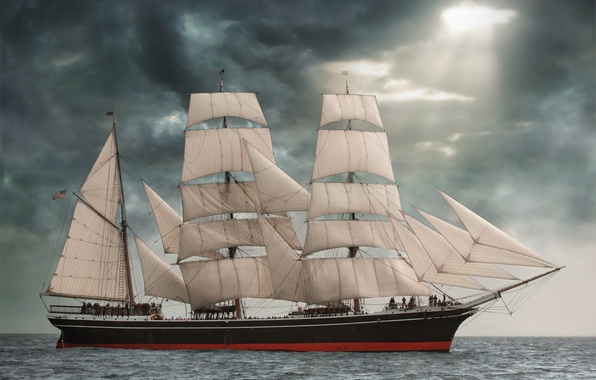 Picture sea, clouds, sailboat, sails, bark, Star of India, Star Of India