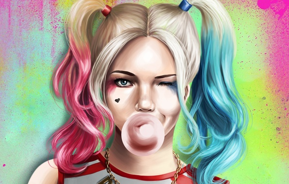 Picture look, face, art, tails, gum, Harley Quinn, Suicide Squad