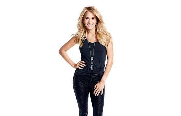 Picture pose, smile, music, makeup, Mike, figure, hairstyle, blonde, photographer, white background, singer, Carrie Underwood, pants, …